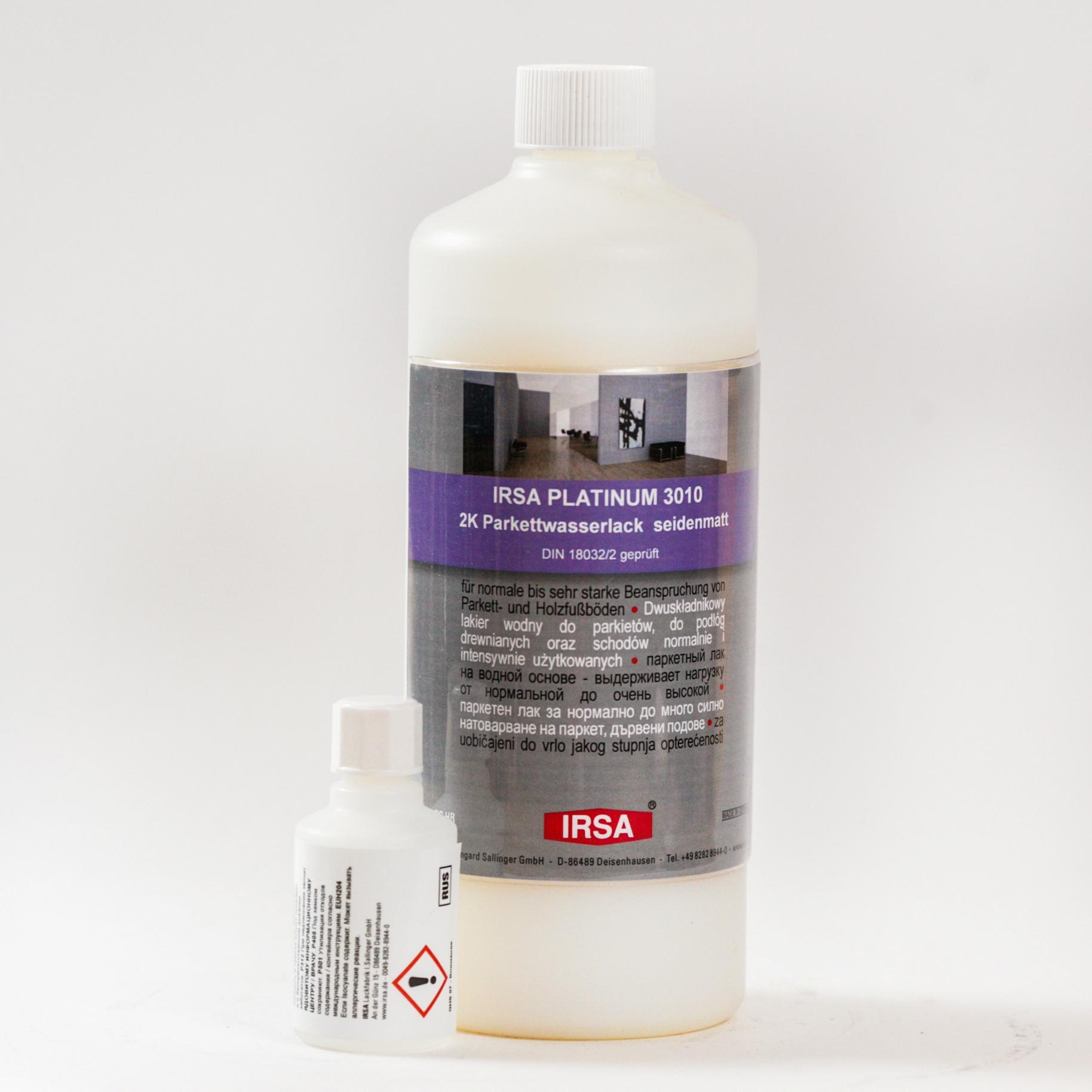 Irsa Platinum 3010 2к полиуретановый лак 0,9л + отвердитель 0,045л полуматовый